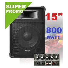 "CASSA AMPLIFICATA ATTIVA 800W WOOFER 38 CM (15"") KARAOKE DJ"