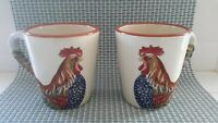 Tabletops Gallery Rancho Gallo Rooster 2 Mugs Coffee Cup Hand Painted Excellent
