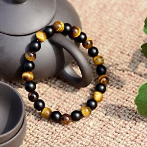 Men Tiger Eye Matte Onyx Mala Stone Yoga Beaded Bracelet Energy Hematite Couples