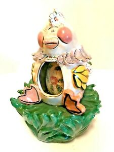 Blue Sky Clayworks Easter Musical Chicken Egg Heather Goldminc 6.5 inches Tall