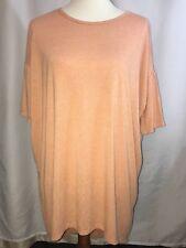 NWT LuLaRoe Irma Heathered Peach Jersey Knit Short Sleeve Tunic Top Size Medium