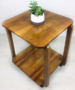 RETRO COFFEE TABLE TROLLEY VINTAGE MID CENTURY WALNUT 50s