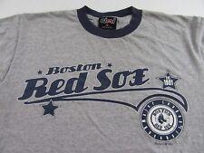 BOSTON RED SOX Retro Style Baseball MLB Fan Gray SS Ringer T Shirt Size L