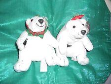 2 New Coca Cola Polar Bear Red Bow + Green Plaid Bow & Coke bottle Bean Bag