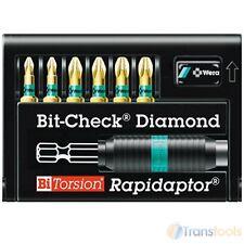 Wera Bit-Check BiTorsion Diamond Bit Set Pozi Plus Rapidaptor Bit Holder 7 Piece