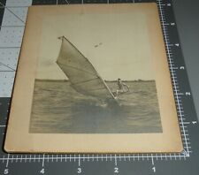 Scarce 1900's Man Windsurfing Early Sail Surfboard Sailing Surfing Antique Photo