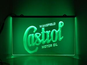 Castrol Wakefield Motor Oil Neon Sign Green LED Light 3D Printed Bar Mancave