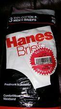 NIP Vintage Hanes Briefs 1987 Cotton Men's Underwear Made USA 3 Pair 40 UNUSED