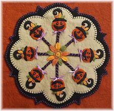 ~*PuMpKiN PoPs*~ Halloween Pumpkins~Penny Rug/Candle Mat *PATTERN*