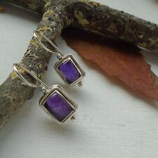 Amethyst, eckig, lila, violett, Ohrringe, Ohrhänger, 925 Sterling Silber, neu