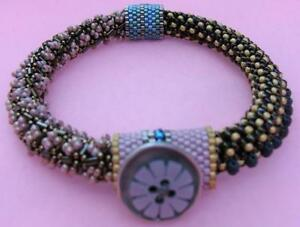 Artist Made Hand Beaded Bracelet Seed Beads Tubular Beads Abalone Shell Accents