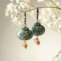 Flower 925 Silver Turquoise Vintage Ear Hook Drop Dangle Hoop Wedding Earrings❤❤