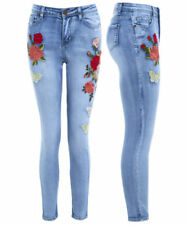 Floral Denim Mid-Rise Jeans for Women