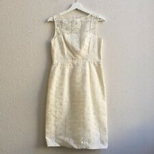 Maggy London size 4 Sheer Lace Embroidered Sheath Dress Ivory Bridal