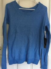 Vans women's Small blue long sleeve cable knit crew off shoulder Bryne Sweater