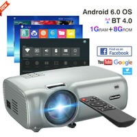 Smart WiFi Wireless 1080P HD LED Projector Android 6.0 BT HDMI Home Theater 8GB