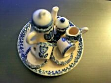 Vintage MINIATURE 10 PIECE Delft like Blue Flow Flowers China Tea Set NICE!