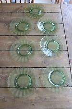 "7 Green Depression Glass 8.25"" Plates"