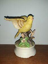Bird Figurine Music Box Yellow Finch? Porcelain