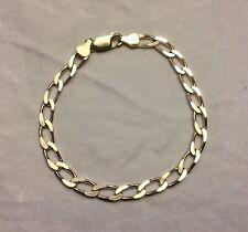 """Mens Womens Sterling Silver 8"""" Figaro Cuban Flat Link Chain Bracelet"""