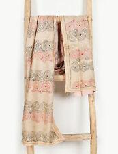 Kantha Designer Round Circle Hand Quilted Stole Hijab Neck Wrap Silk Scarves