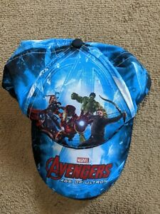 Boys Avengers Age Of Ultron Marvel Baseball Hat Cap Blue OSFM Youth EUC!