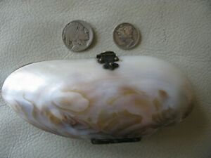 Antique Victorian Red Interior Old World Clasp Hinge Sea Shell Purse 1900s #5