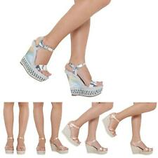 NEW WOMEN LADIES ANKLE STRAP HIGH HEEL PLATFORM ESPADRILLES WEDGES SHOES 3-8