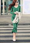 Korea Fashion Women Long Sleeve V Neck Stretch Kint Cotton Bodycon Maxi Dress