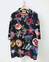 J HEAD VTG 90s Negro League Button Up Shirt Short Sleeve Team Logos MLB Mens 2XL