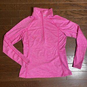 Under Armour Women's Bright Pink Heather 1/2 Zip Golf Activewear Pullover Sz XL