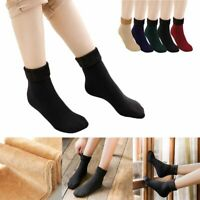 1/3/5Pairs Women Solid Winter Thick Warm Fleece Lined Thermal Stretchy Socks Fit