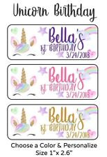50 Unicorn Birthday Stickers Labels For Goodie Bags Or Party Favors (B1-3)