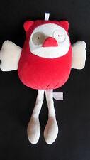 doudou peluche poule oiseau rouge beige SUCRE D'ORGE 23cm
