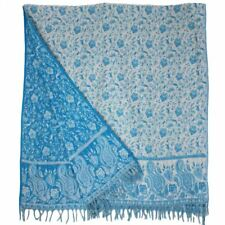 SHAWL PASHMINA WRAP SCARF FLEECE INDIAN BLANKET HIPPIE FESTIVAL Turquoise White