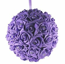 "10"" PURPLE Hanging Foam Pomander Kissing Rose Wedding Ball w/ Acrylic Diamond"