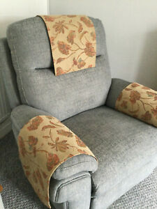 BEIGE LEAVES  X 1 Chair Arm Back Cover Antimacassar Sofa Armchair Protect