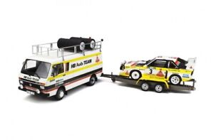 OTTO MOBILE 276 Portugal RALLY SET AUDI TEAM VW LT45 trailer + Audi Quattro 1:18