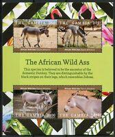 Gambia 2018 MNH African Wild Ass 4v M/S Fauna Mammals Wild Animals Stamps