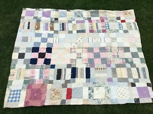 """ORIGINAL Patchwork Quilt, Hand Crafted, Early 20th Century, 49"""" x 59"""""""
