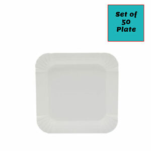 """5.5"""" Square Off White Birthday Guest Party BBQ Disposable Paper Plate"""