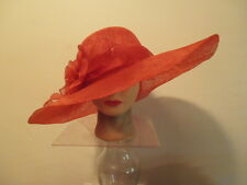 Hat- RED Sinamay Wide Brim Kentucky Derby Wedding Society ROSETTES