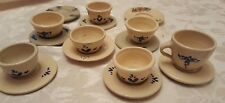 Miniature Stoneware Bowls MPC Signed Pottery Tiny Bowl Plate Cup Heart Flower