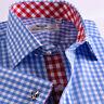 Blue Check Formal Business Dress Shirt Red Gingham Check Luxury B2B A+ Fashion