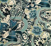 Zen Charmer Japan Geisha Skull Snake Shamisen Alexander Henry Cotton Fabric