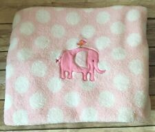 Just One Year Carters Pink Elephant Polka Dot Plush Baby Blanket