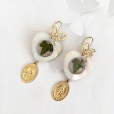 orecchini madreperla sacro vergine Maria edera vera cuore fiocco argento 925 oro