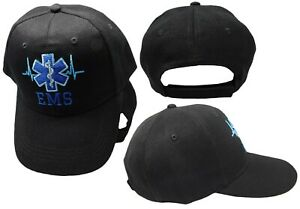 EMS Emergency Medical Technician EMT Cross EMS Paramedic Black Baseball Cap Hat