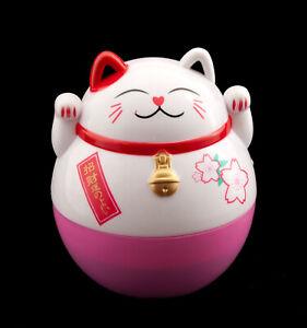 Grande Tirelire Chat Japonais 15 cm Rose Blanche Porte Bonheur Maneki Neko 343