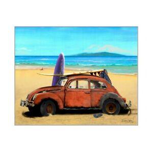 VW Beetle Bug sedan Art Print picture ~ Hawaii beach picture
